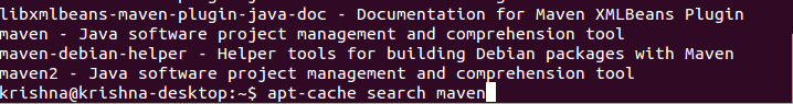 Search Maven in Ubuntu