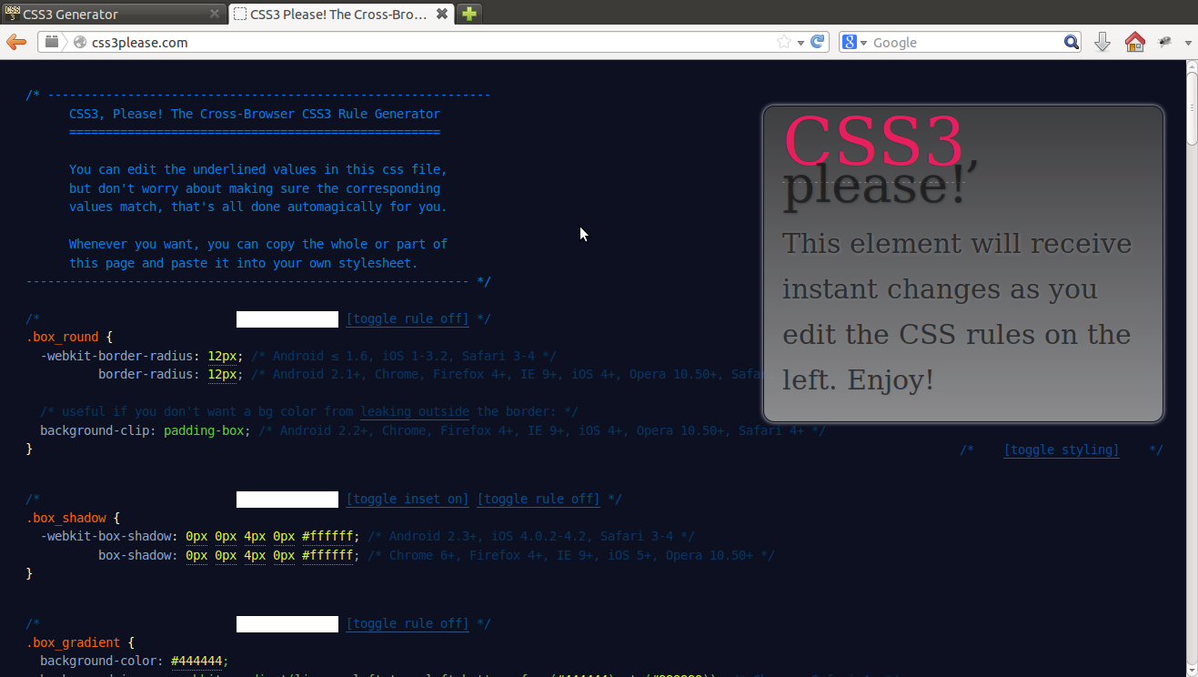 Please CSS3 Design Tool