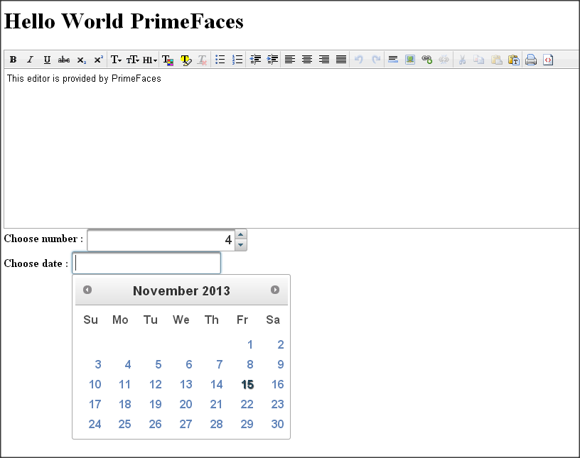 PrimFaces Hello World Example Demo