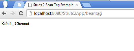 Struts 2 Bean Tag Example Screen