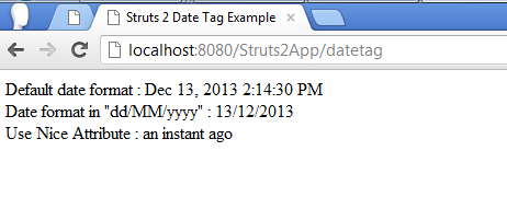 Struts 2 Date Tag Example Screen