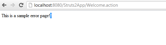 Struts 2 Exception Handling Example Screen