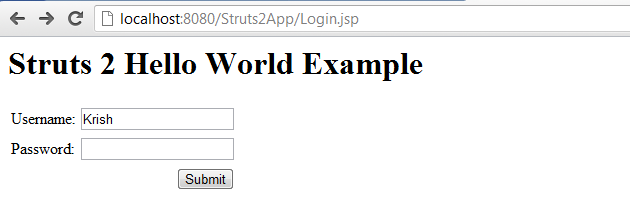 Struts 2 Hello World Example Input Fields