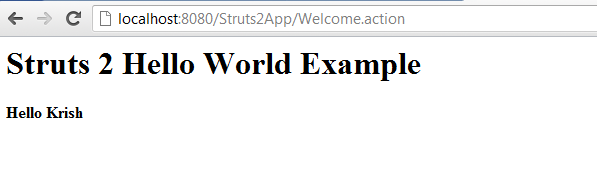 Struts 2 Hello World Example Result