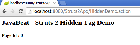 struts2 hidden tag example output screen