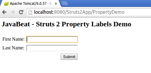 Struts 2 Resource Bundle Example