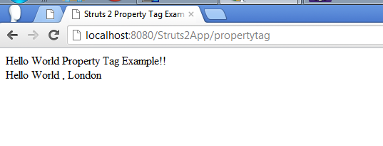 Struts 2 Property Tag Example Screen