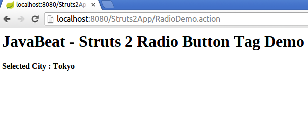 struts2 radio tag example output screen