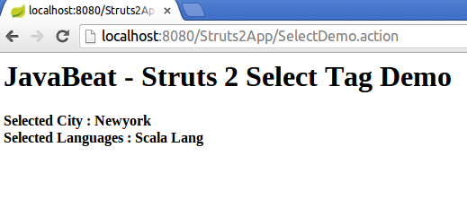 struts2 select tag example output screen