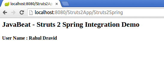 Struts 2 Spring Integration Example