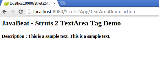 struts2 textarea tag example output screen