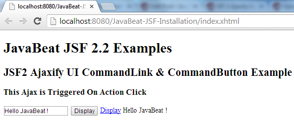 JSF 2 Ajaxifying Action Source
