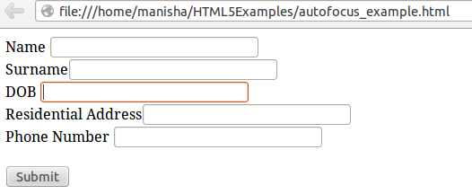 HTML5 Autofocus Attribute