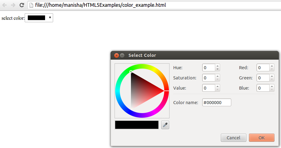HTML5 Color Input Type1