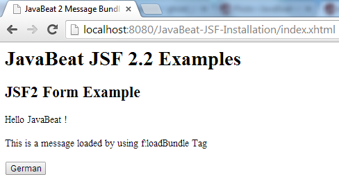 JSF 2 Message Bundle Example 2