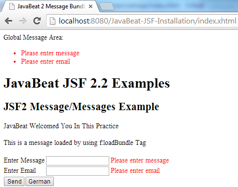 JSF 2 Message Example 3