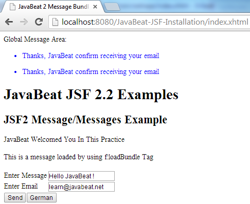 JSF 2 Message Example 4