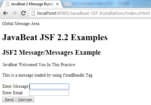 JSF 2 Message Example 2