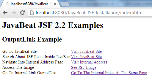 JSF 2 OutputLink Example 2