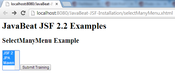 JSF 2 SelectManyMenu Example 1