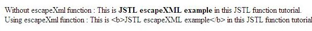 output of jstl function fn escapeXml