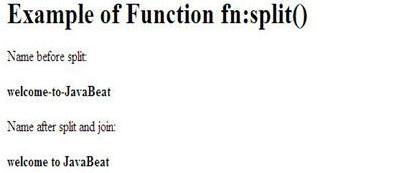 output of jstl function fn split