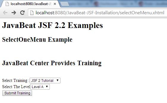 JSF 2 selectOneMenu Example 1