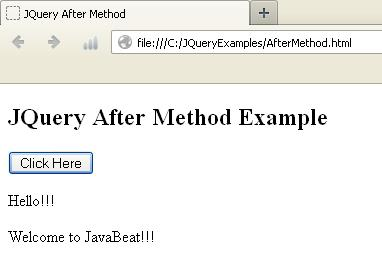 JQuery After Method