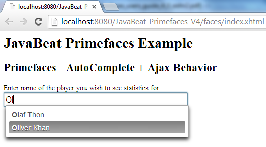 AutoComplete AjaxBehavior Example 1