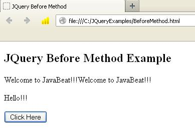 JQuery Before Method Example