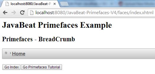 Primefaces - BreadCrumb Example 2