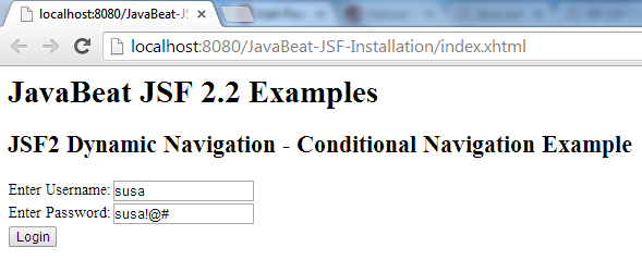 JSF 2 Conditional Navigation Example 1