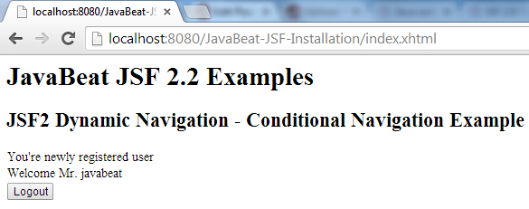 JSF 2 Conditional Navigation Example 4