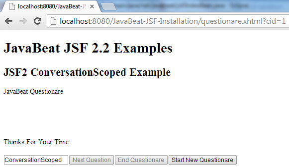 JSF 2 Conversation Scope Example 5