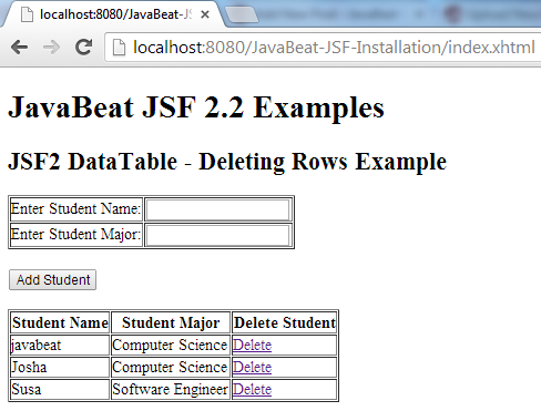 JSF 2 Deleting Rows Example 2