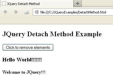 JQuery Detach Method Example