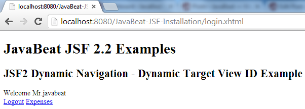 JSF 2 Dynamic View Example 2