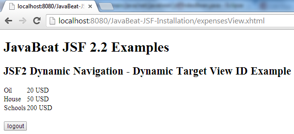 JSF 2 Dynamic View Example 3