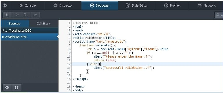 JavaScript Debug FireFox