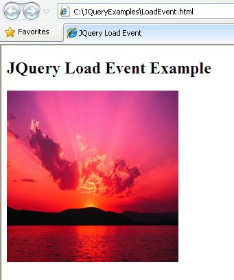 JQuery Load Event Example