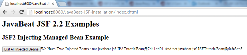 JSF 2 Injecting Managed Bean Example