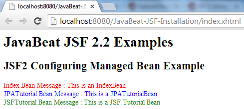 JSF 2 Configuring Managed Beans Example 1