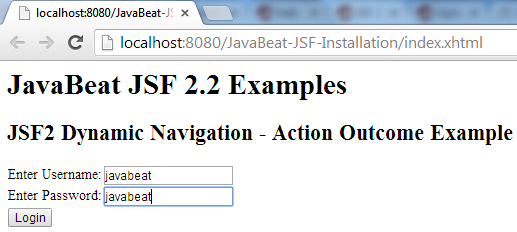 JSF 2 Dynamic Navigation Example 1