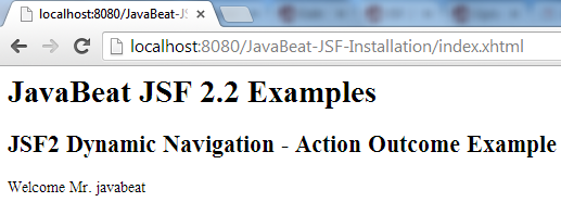 JSF 2 Dynamic Navigation Example 2