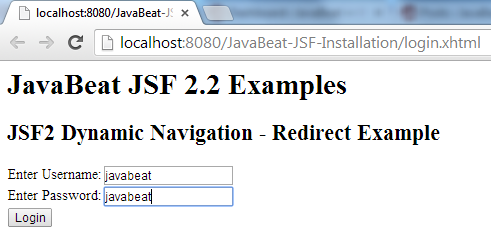 JSF 2 Redirection Navigation Example 1
