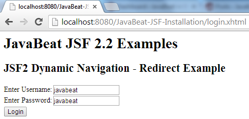 JSF 2 Redirection Navigation Example 4
