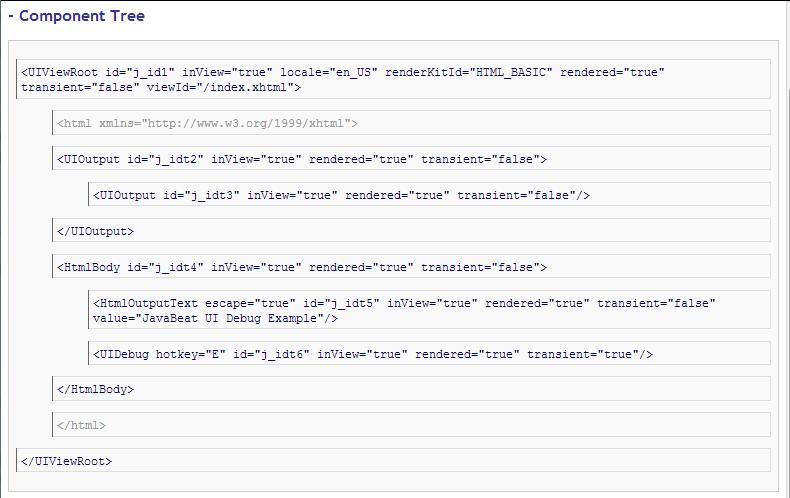 JSF 2 UI Debug Example 2