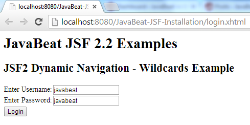 JSF 2 Wildcards Navigation Example 1