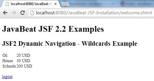 JSF 2 Wildacrds Navigation Example 4