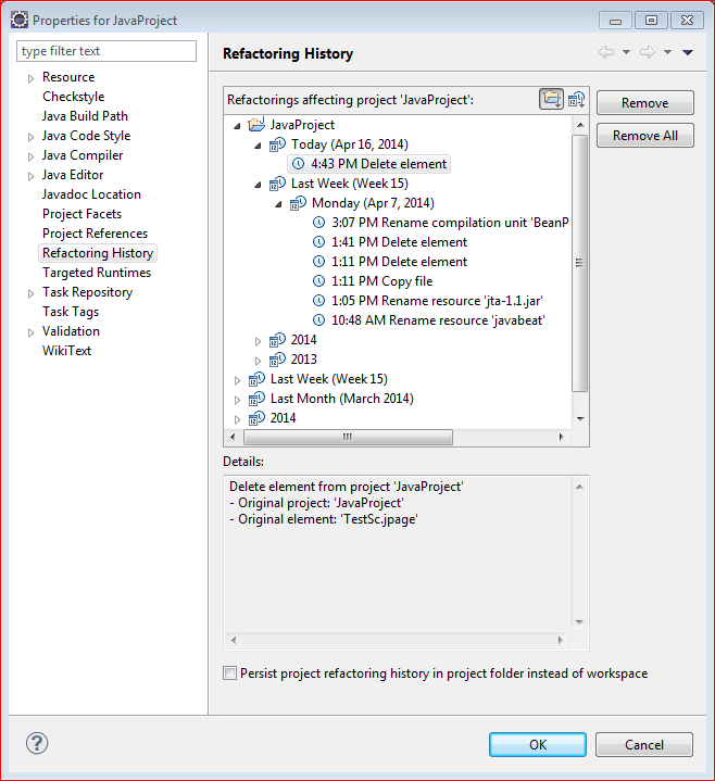 Eclipse Refactoring History